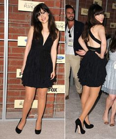 Zooey deschanel wearing a lbd at fox party september 2012 ♥ wwzdw? what would zooey deschanel wear? Casino Royale Dress, Casino Dress, Casino Outfit, Pantyhose Outfits, Pantyhose Heels, Nylons, Zooey Deschanel, Night Outfits, Dress Outfits