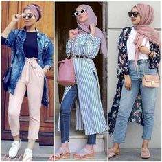 Hijabers fashion looks – Just Trendy Girls Modest Fashion Hijab, Casual Hijab Outfit, Islamic Fashion, Muslim Fashion, Girl Fashion, Fashion Looks, Fashion Outfits, Mode Kimono, Hijab Trends