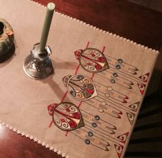 Exquisite Arts & Crafts Style  Embroidered Table Runner | Craftsman | Bungalow