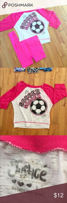 Pink girl soccer top and leggings Pink leggings and cute top. I believe it's 3-5 length sleeves. Super cute.  Top size 14 but fit like a 12 depends on your girls growth. Leggings are one size.  💕feel free to ask me any questions. Justice Shirts & Tops Tees - Long Sleeve