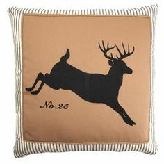 """Cotton and linen pillow with a leaping deer silhouette and striped border.   Product:  Pillow  Construction Material:  Cotton and linen blend  Color:  Khaki   Features:  Insert included   Dimensions:  20"""" x 20""""  Cleaning and Care:  Spot clean"""