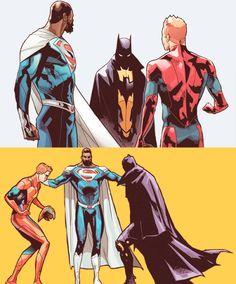 lornahs:  Superman, Flash and Batman - Earth 2: Society #4