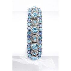 Aqua Crystal Wedding or Prom Stretch Bracelet - pretty aqua and light sapphire stones!
