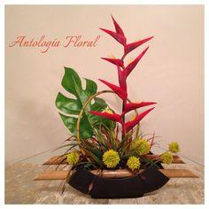 Arreglo en base de lat n con helechos y noche buena - Arreglos florales artificiales centros de mesa ...