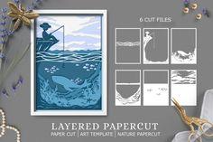 Paper Cutting Templates, Art Template, Kirigami, Shadow Box Art, Cardboard Art, Art N Craft, Xmas Cards, Pattern Art, Cricut