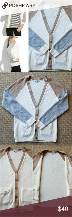 """Madewell Journal Cardigan Color block J Crew Wool Beautiful Madewell J. Crew Journal Cardigan in Colorblock pattern in ivory camel gray colors  """"Laid-back and fundamentally cool, this colorblock cardigan (with textural seed-stitch shoulders) will serve you well in the colder months and beyond.""""  Great condition! Light wear, no holes no tears no stains. See pics!  Size: Small Materials: 100% Merino Wool  Measurements laying flat: Width (armpit to armpit): approx 18"""" Length: approx 25"""" Sleeve…"""
