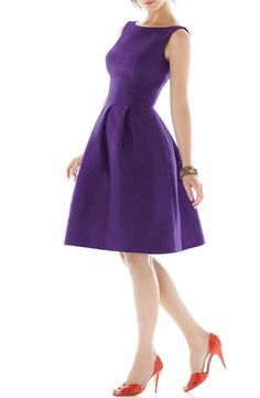 Alfred Sung Dupioni Fit & Flare Dress