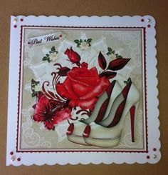 Cream and Red Shoes and Red Rose Toper on Craftsuprint created by Angela Sangster - Printed onto matt photo paper, cut out all elements and matted and layered main image onto white then red card.  Used foam pads to decoupage remaining pieces. To finish off i used 3d gloss on the rose and stickles on the flowers and decorated with contrasting pearls.  A really quick and and fab card to make.