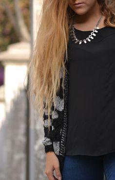 chaleco negro/blanco animal print