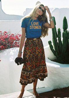 10 combinações no estilo boho para investir na próxima estação - Fashion for Woman 10 Kombinationen im Boho-Stil für die nächste Saison Boho Sommer Outfits, Boho Outfits, Summer Outfits, Vintage Outfits, Cute Outfits, Summer Dresses, Fashion Vintage, Cute Hippie Outfits, Skirt Outfits