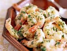 Good for you shrimp scampi- 4 points plus!  I served this on Valentines day with Asparagus and spinach Fettucini. I used a yummy Chardonnay as the dry white wine. Enjoy!!!
