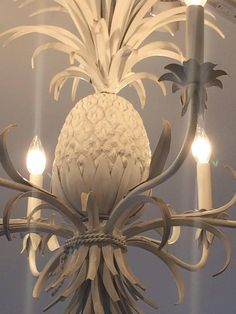 Glamorous White Painted Tole and Iron Pineapple Chandelier Pineapple Chandelier, Pineapple Lights, Pineapple Lamp, Painted Chandelier, Chandelier Pendant Lights, Chandeliers, Pineapple Painting, Dining Room Light Fixtures, Chandelier
