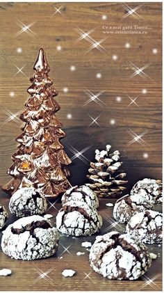 Crinkles cu ciocolata si rom - Retete Timea Crinkles, Christmas Tree, Holiday Decor, Cakes, Home Decor, Rome, Teal Christmas Tree, Decoration Home, Cake Makers