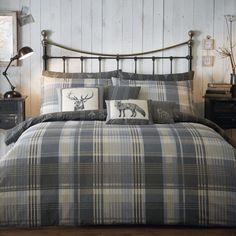 Highland Tartan 100% Soft Flannelette Cotton Duvet Cover Set - Charcoal Grey