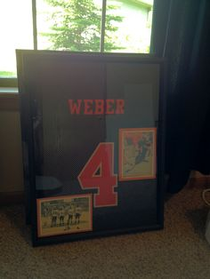 How to frame a sports jersey diy craft projects pinterest men shadow box with a framed college football jersey first time trying this myself solutioingenieria Gallery
