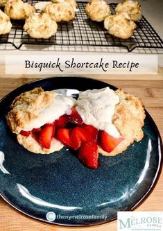 This easy, flavorful dessert only calls for a handful of ingredients, yet is delicious enough for your next dinner party. This recipe yields 12 small shortcakes, so you feel great about eating more than one!🍓🍓  #themelrosefamily #newrecipe #bisquickstrawberryshortcake #shortcake #strawberryshortcake