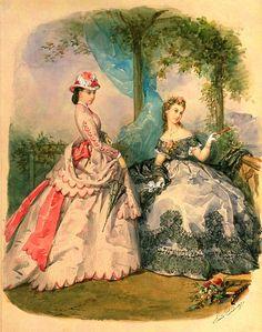 Day and evening dress, La Mode Illustree. Civil War Fashion, 1800s Fashion, 19th Century Fashion, Victorian Women, Victorian Era, Victorian Fashion, Vintage Fashion, Victorian Dresses, Historical Costume