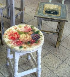 decoupage decal onto stool - This would be a Very quick and easy way to re-finish my rocking chair!