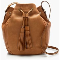 J.Crew Tassel-Tie Bucket Bag ($225) ❤ liked on Polyvore featuring bags, handbags, shoulder bags, real leather handbags, brown purse, j.crew, j crew handbag and brown leather handbags