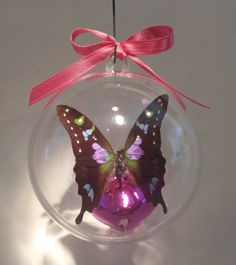 """Graphium weiskeii""  from New Guinea 80 mm clear ornament $25.00 US Butterfly Ornaments, Clear Ornaments, Christmas Bulbs, Gift Ideas, Holiday Decor, Gifts, Presents, Christmas Light Bulbs, Favors"
