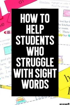 Three ways to help students who struggle with sight words and sight word identification. Learn how to get your students to read sight words within context- not just on sight word flashcards! Get a FREE sight word intervention lesson to use with your stude Learning Sight Words, Sight Word Practice, Sight Word Games, Sight Word Activities, Reading Activities, Dyslexia Activities, Literacy Activities, Reading Fluency, Reading Intervention