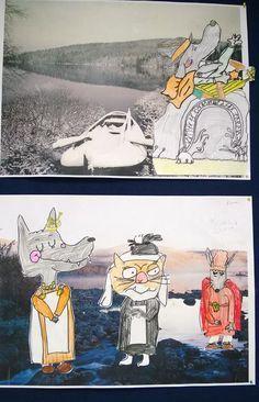 Oppilaat piirsivät mallista Mauri Kunnaksen Koirien Kalevala-kirjasta haluamansa hahmot ja valitsivat mieleisensä Suomi-maiseman, joihin niitä kiinniteltiin. Tykkäsivät työstä tosi paljon! (Alakoulun aarreaitta FB -sivustosta / Satu Juslenius) Primary School Art, Art School, Crafts For Kids, Arts And Crafts, Finland, Illustration Art, Satu, Painting, Illustrations