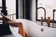 A lavender bath helps me reduce stress and takes away the winter blues.  Carlakhabbaz.com