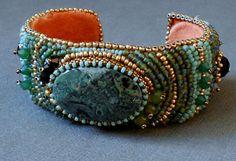 beaded cuff bracelet by beadnurse on Etsy, $100.00