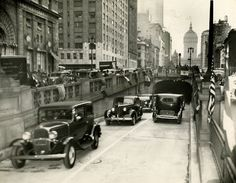 NYC. First cars to use the Park Avenue Tunnel, 1937.