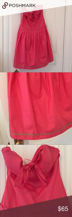 Hot pink strapless dress Hot pink strapless dress with tie in front and pleats. Perfect condition. Only worn once Boutique Dresses Mini