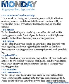 A week of workouts from a tumblr account *formerly known as thinso-exoh* = http://fierce-physique.tumblr.com/