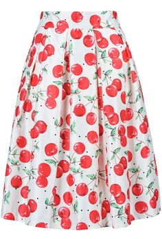 Cherry Print Mid Skater Dress In White