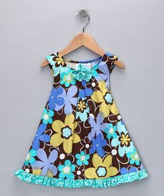 Teal & Mocha Floral Swirl Swing Dress