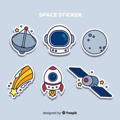 Set of space stickers in hand drawn Free Vector Stickers Kawaii, Diy Stickers, Printable Stickers, Star Stickers, Space Party, Space Theme, Journal Stickers, Planner Stickers, Theme Mickey