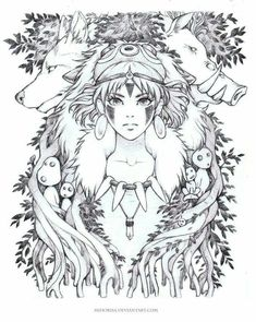 "It's a ""surprise"" theme this time, a Ghiblis Mononoke fan art. It's one of my favorite Ghibli movies. They're all great but some of them really hold a special value to me. Totoro, Studio Ghibli Tattoo, Studio Ghibli Art, Kodama Tattoo, Mononoke Anime, Manga Anime, Anime Art, Ghibli Movies, Desenho Tattoo"
