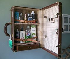 {Medicine Cabinet}: with the feel of a really large dopp kit, this vintage case turned cabinet will make it very hard for guests to resist peaking in to. Photos: lovenostalgicwhimsy, Esty.