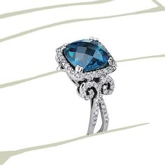 London Blue Topaz and Diamond scroll engagement ring Love Ring, Dream Ring, Wedding Jewelry, Wedding Rings, Jewelry Accessories, Jewelry Design, Blue Topaz Diamond, London Blue Topaz, Diamond Are A Girls Best Friend