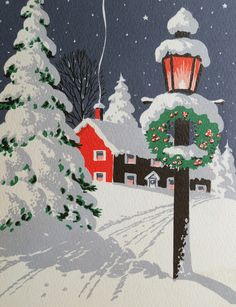 1950s Christmas card  Snowy drive, Christmas wreath