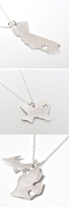 State Necklaces. So I had to pin this because these particular 3 states are so loved and well-lived in by me :)