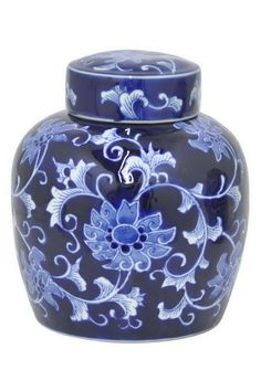 """Blue and White Ceramic Jar with Top painted in the traditional Ming Dynasty style. This piece is a great addition to a bookcase of curiosities or alone on a coffee table or console!  Measures: 6.5"""" x 6.5"""" x 9""""  Navy Ceramic Jar by Highpoint Home. Home & Gifts - Home Decor - Decorative Objects Rhode Island"""