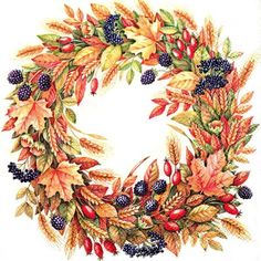 Ideal Home Range 20 Count Cocktail Napkins, Harvest Crown Cream Wreath Watercolor, Watercolor Flowers, Embroidery Patterns Free, Cross Stitch Patterns, Flower Frame, Flower Art, Autumn Wreaths, Fall Projects, Floral Illustrations