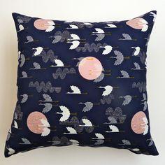 Midnight Blue, Salmon Pink, White, Yellow and Grey-Cranes Cushion Cover | Cushinn | madeit.com.au