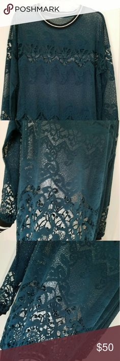 """Turquoise Lace Tee Turquoise lace long sleeve lace tee. Transitional months call for this floral lace tunic with sporty striped cuffs and bottom band. Wear it to and from the gym with a bra underneath or take it to the streets with a basic tank or sexy bra. Measures  29"""" shoulder to bottom. Fabric 100% polyester  Fit  Relaxed fit, below the hip. Brand New Excellent condition! Kate Hudson  Tops Blouses"""