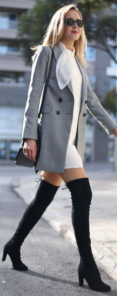 Memorandum Glen Plaid Blazer Fall Streetstyle women fashion outfit clothing stylish apparel @roressclothes closet ideas