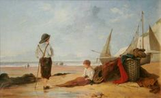 Beach Scene by Joseph Stannard (attributed to) Oil on canvas, 26 x 43 cm Collection: Great Yarmouth Museums Norwich School, East Coast Beaches, Great Yarmouth, Art Uk, Beach Scenes, Your Paintings, Oil On Canvas, Coastal, Museums