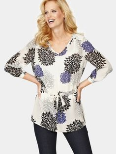 I will be on the lookout for some tops like this one spring and summer.  As I have an apple shaped body the V neck draws attention up to the face and neck, and the drawstring belt will give the illusion of a waist.  Savoir at www.littlewoods.ie