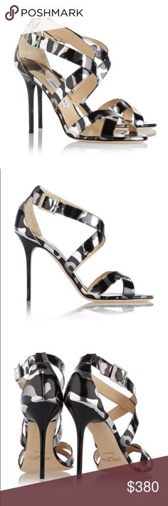Jimmy Choo Lottie Silver Black Leopard High Heel $850 Jimmy Choo Lottie Silver Black Camo Leopard High Heel Sandal Sz 39.5 9.5 