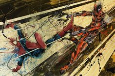 Triptych 'Smackdown Set' by JP Valderrama featuring Wolverine, Spiderman vs Deadpool, & Iron Man. The three prints will be available as a 3-print set for $85 or alternatively available individually.