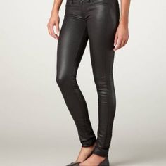 NWT American Eagle Black Leather Skinny Jean Skinny black fake leather jeans from American Eagle. Never worn before with tags. A staple statement piece great for any season. American Eagle Outfitters Jeans Skinny