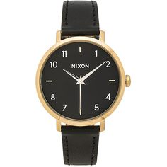 Nixon Arrow Leather (€135) ❤ liked on Polyvore featuring jewelry, watches, leather wrist watch, leather jewelry, leather wrist band watch, nixon wrist watch and water resistant watches